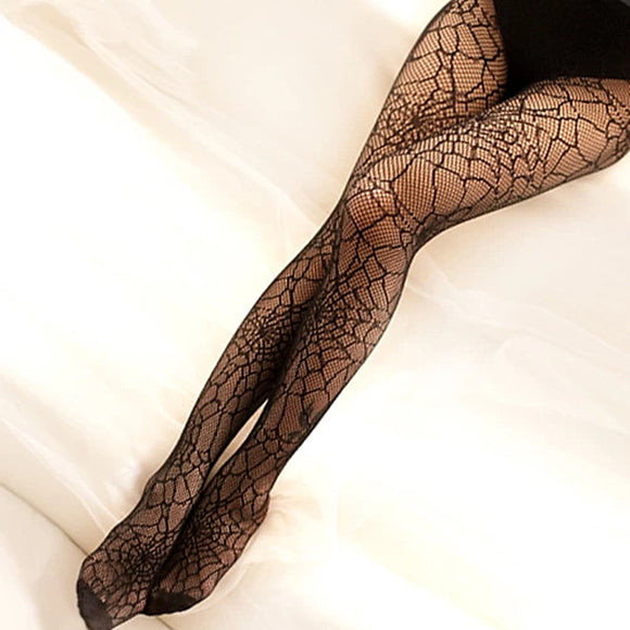 Sexy Spider Web Hollow Out Mesh Thigh High Stockings Pantyhose - chicstocking