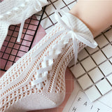 Solid Color Lolita Bowknot Tie Hollow Mesh Short Socks - chicstocking