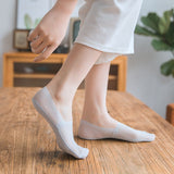 Summer Lace Stripe Mesh Solid Color No Show Ankle Invisible Socks - chicstocking