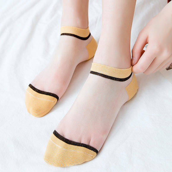 Patchwork Mesh Glass Silk Socks