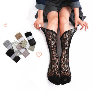 Summer Solid Lace Hollow Mesh Socks - chicstocking