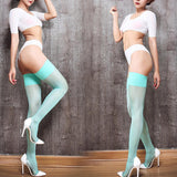 Sexy Solid Color Wide Border Oil Elastic Thigh High Stockings - chicstocking