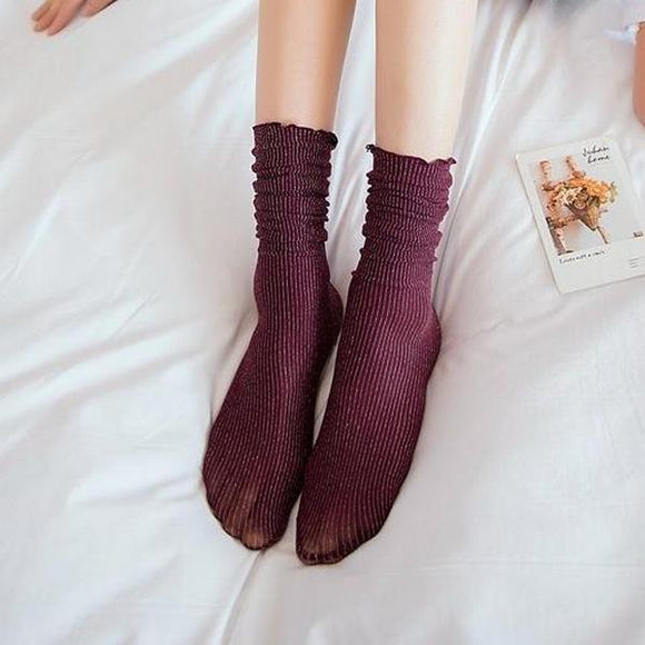 Glitter Solid Color Stringy Selvedge Women Short Slouch Socks - chicstocking