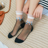 Contrast Lace Cut Elastic Transparent Glass Silk Socks - chicstocking