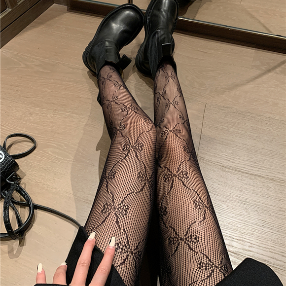 Retro Sexy Fishnet Bowknot Soft Long Stockings Pantyhose