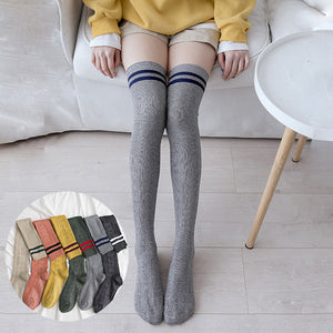 Solid Color Stripe Over Knee High Stockings - chicstocking