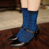 Gold Silver Bling Solid Color Short Socks - chicstocking