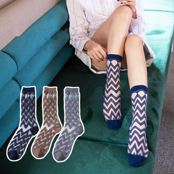 Summer Jacquard Wave Breathable Glass Silk Short Socks - chicstocking