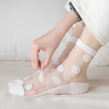 Cute Dots Transparent Breathable Women Silk Socks