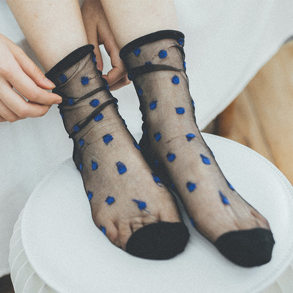 Ultra Thin Polka Dot Silk Socks - chicstocking