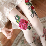 3D Rose Flower Sexy Tights Stockings Pantyhose - chicstocking