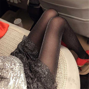 Black Glitter Tights Stockings Pantyhose - chicstocking