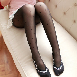 Lolita Retro Lace Flower Dots Breathable Women Thigh High Stockings Pantyhose - chicstocking