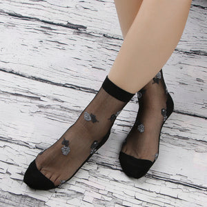 Lace Flower Silk Socks - chicstocking