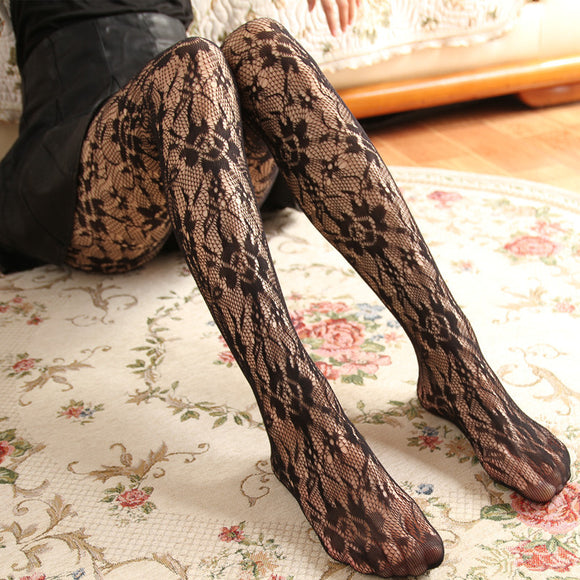 Sexy Retro Flower Hollow Mesh Tights Stockings Pantyhose - chicstocking