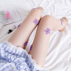 Handmade Embroider Flower Transparent Breathable Women Thigh High Stockings Pantyhose - chicstocking