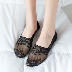 Summer Lace Leaf Mesh No Show Ankle Invisible Socks - chicstocking