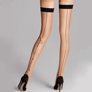 Thin Love Is Enough Summer Women Over Knee Stay Up Thigh High Tattoo High Stockings Black Line - chicstocking