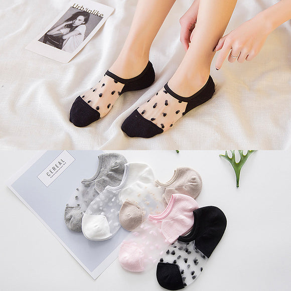 Dot Elegant Elastic Women Rayon Cotton No Show Ankle Invisible Socks - chicstocking