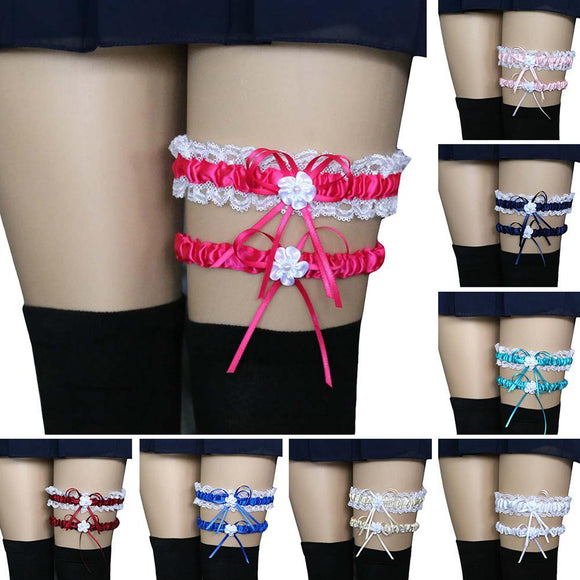 2Pcs Fashion Leg Garter Belt Sexy Women Ladies Bridal Lingerie Wedding Party Cosplay Lace Bowknot Leg Garter Belt Suspender - chicstocking