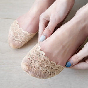 Lace Flower Women Lace Cotton No Show Ankle Invisible Socks - chicstocking