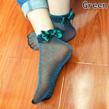 Glitter Mesh Silk Ribbon Butterfly Sexy Crystal Glass Elastic Women Short Socks - chicstocking
