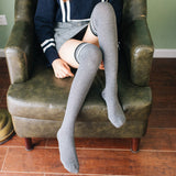 Solid Color Stripe Warm Women Thigh High Stockings - chicstocking