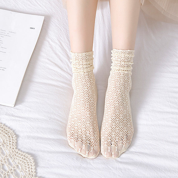 Summer Hollow Mesh Breathable Loose Women Knee-socks Short Socks - chicstocking