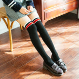 Solid Color Stripe Warm Women Thigh High Stockings