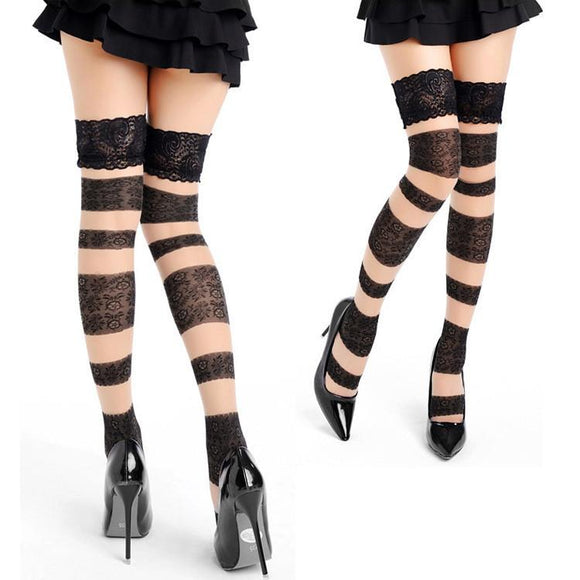 Sexy Cored Big Stripes Lace Thigh High Stockings - chicstocking