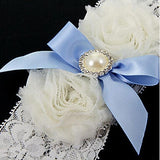 Charming Prom Blue Satin Wedding Bridal Girl White Pearl Lace Bowknot Garter - chicstocking