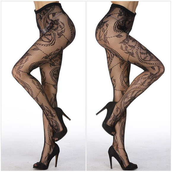 Sexy Stripe Elastic Stockings Charming Black Fishnet Stocking Thigh Sheer Tights Embroidery Pantyhose - chicstocking