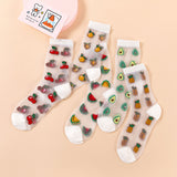 Creative Transparent Lace Fruit Avocado Watermelon Pineapple Socks