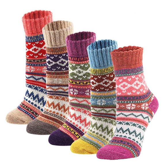 Vintage Geometry Print Winter Wamer Thicken Knitting Floor Wool Socks - chicstocking