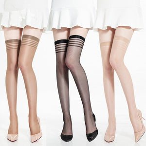 Ultra Thin Elastic Stripe Lace Flower Sexy Lingerie Stockings - chicstocking
