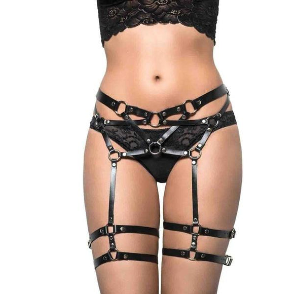 Gothic Legging Garter Harness Belts New Fashion Punk Women Designer Handmade Harness for Leg Garter - chicstocking