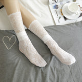 Fashion Lace Flower Mesh Elastic Short Loose Socks - chicstocking