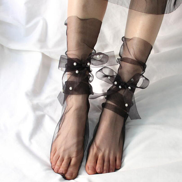 Summer Transparent Ultra-thin Pearls Lace Up Women Socks