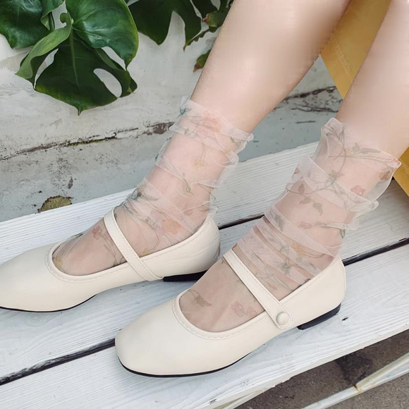Lace Flower Print Gauze Women Silk Socks