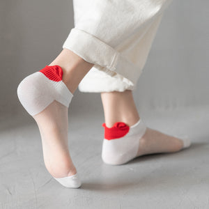 Summer Ultra Thin Love Heart Breathable Glass Silk No Show Ankle Invisible Socks - chicstocking