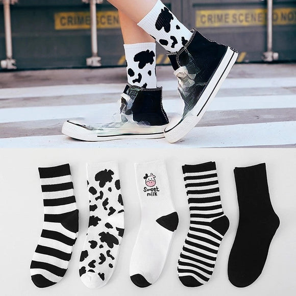 Casual Cartoon Breathable Cow Print Striped Socks