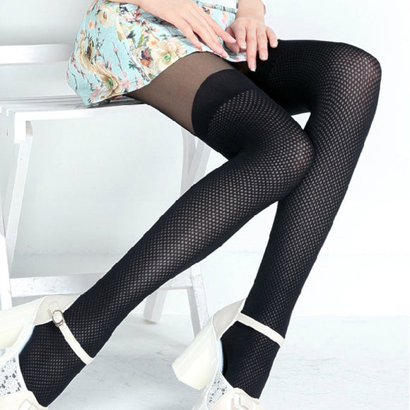 T Crotch Solid Color Patchwork Mesh Stockings Pantyhoses