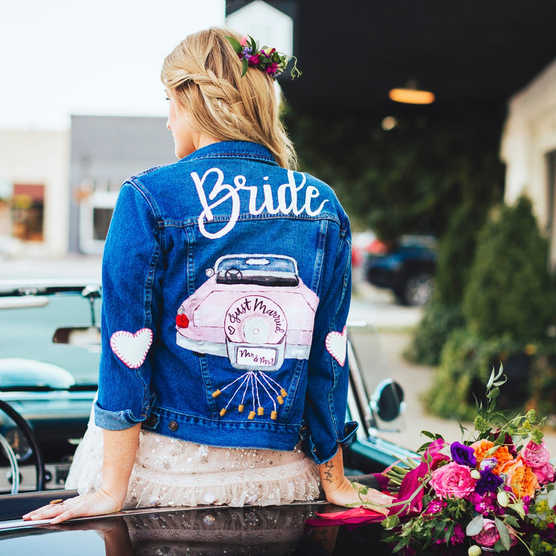 A Sparkly Bridal Session with a Rad Denim Jacket | Photographs by Kristen Herrington