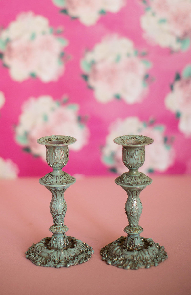 Vintage Blue Candlesticks