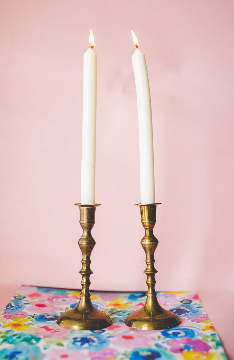 Short Brass Candlesticks
