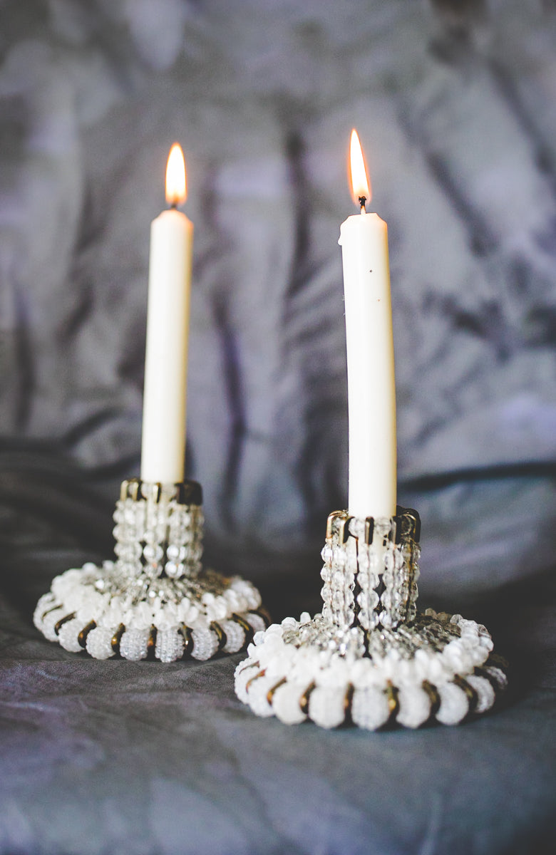 Beaded Gray Candlesticks