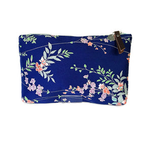 VINTAGE SILK POUCH - SATIN BLUE WITH PETITE FLOWERS