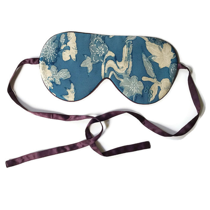 VINTAGE SILK EYE MASK - WATERFLOWS