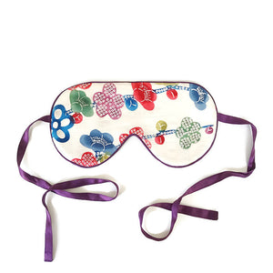 VINTAGE SILK EYE MASK - COLOURFUL CHERRY