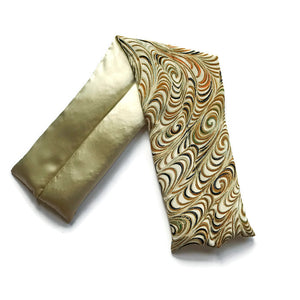VINTAGE SILK NECK ROLL - GOLD PEACOCK